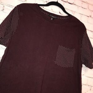Forever 21 Men Burgundy Tee Shirt